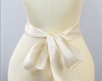 Light Ivory Ribbon Sash - choice of 1.5 or 2.25 inch width x 144 inches/4 yard length -Wedding Sash Bridal Sash Plain Sash Belt Bridal White