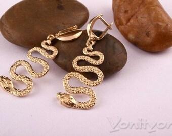 Snake Earrings, 14K Yellow Gold Earrings, Dangle Earrings, Unique Jewelry