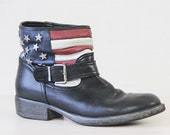 f i n a l  p a y m e n t Vintage black leather stars stripes US American flag slouchy ankle boots Size 8.5