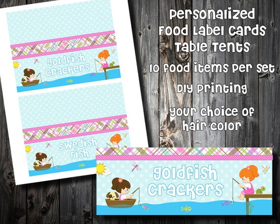 the girls gone fishin collection personalized food card buffet rh catchmyparty com