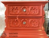 Vintage Coral Gloss Night Stand Bedside Table Mid Century Hollywood Regency
