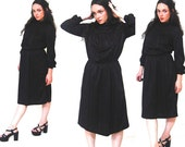 Union Made Black Long Sleeve Turtleneck ILGWU Dress