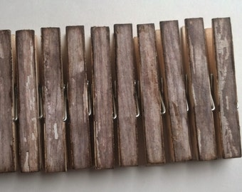 Weathered wood decoupage clothespins set of 10 Brown shabby chic chipped look