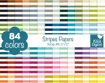Stripes Digital Papers - Rainbow Stripes Papers - Scrapbook Papers - Huge Paper Pack- INSTANT DOWNLOAD