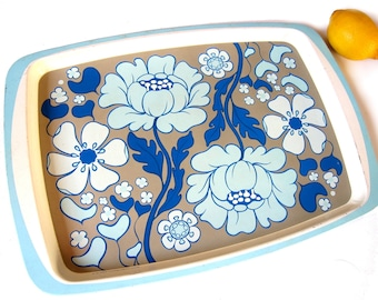 RESERVED Vintage tray, flowers, blue, teal and petrol, Handiware, 1960s kitchen