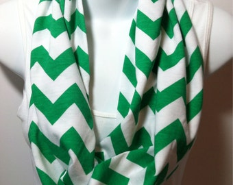 Green and white chevron infinity scarf
