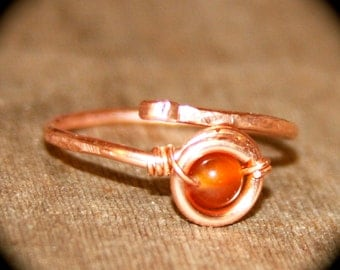 Adjustable Copper Ring Carnelian Stone, Stacker Ring, Midi Rings, Stone Thin Ring, Ring Handmade Knuckle Silver Gold Thin Ring Stacking Ring