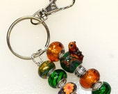 Green & Amber Beaded Key Ring With Funky Frog