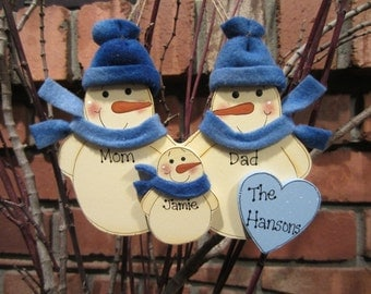 Family of 3: Personalized Fleece Snowman Ornament