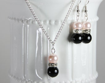 Bridesmaid Pearl Blush Pink and Black  Jewelry Set, Pearl Necklace, Pearl Earrings, Bridesmaid Jewelry, Bridesmaid Gift, Pick Your Own Color