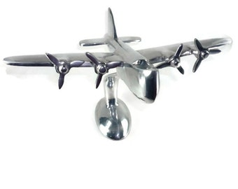 Aluminum Sea Plane Sculpture Vintage Airplane