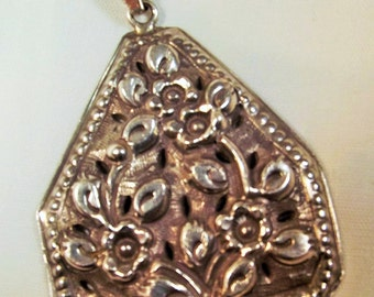 Necklace Art Nouveau Pendant in Repoussé Vintage Sterling Silver Detailed 925 Chain Unique Day to Evening Forest to Runway Rare Hand Crafted