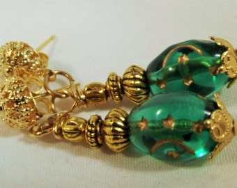 Earrings Handmade Emerald Czech Glass Glass Beads with Gold Etched Moon and Stars Filigree Post Backs Unique Exotic Forest Magic Lovely