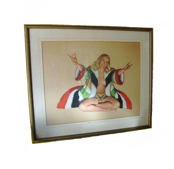 Mid Century Modern Vintage 1947 Framed RARE Signed Al Moore Original Esquire Girl Nude Pin Up Print - Welcome Change - Chest Without Drawers