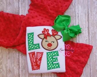 Christmas reindeer shirt and minky pant set- Christmas outfit- Minky pants- girls outfit