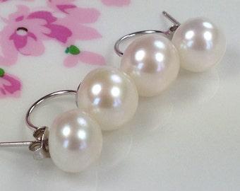 Tribal Double Pearl Earrings, White Freshwater Pearl Earrings, Large Double Pearls, Sterling Silver Stud Earrings, Bridal Double Happiness