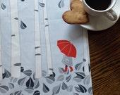 Birch Tree Tea Towel with Red Umbrella Printed on Linen Cotton