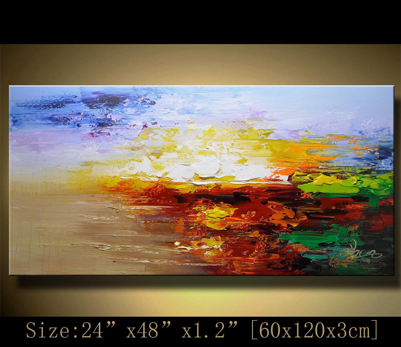 Palette knife textured painting original acrylic abstract for Textured acrylic abstract paintings