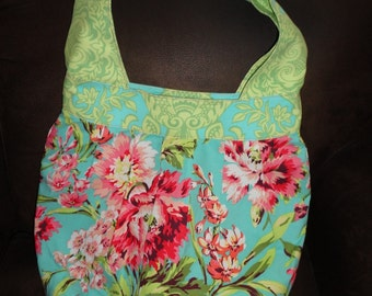 Birdie Sling Purse Amy Butler Floral and Lime Dots