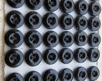 Vintage 125  french black glass buttons new old stock still on card