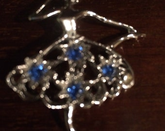 Vintage antique ballerina blue rhinestone silver tine  pin free shipping girls ballet dance