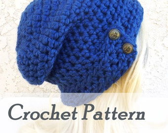 Instant Download Crochet Pattern - Warm slouchy beanie with button closure - Womens hat winter - Beginner Crochet - Misty Mountains