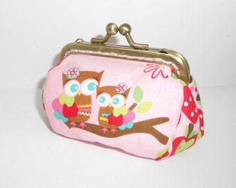 Owl baby fruit forest coin pink /change pouch/purse/wallet w bubble metal frame