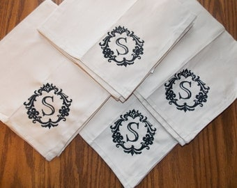 Monogrammed Cloth Napkins Personalized Cloth Napkins Dinner Napkins Personalized Wedding Decor 2nd Anniversary Gift Cotton Anniversary Gift
