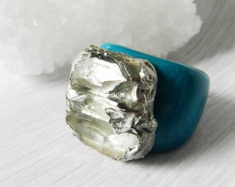 Crystal Quartz ring, Statement ring, Tagua nut, Silver Ring, Silver Dipped