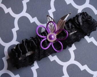 Prom Garter, Prom Garters, Homecoming Garter, Dance Garter, Orchid Purple Garter, Orchid Purple and Black Garter