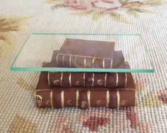 Leather Covered Stacked Books Coffee Table - DOLLHOUSE MINIATURE