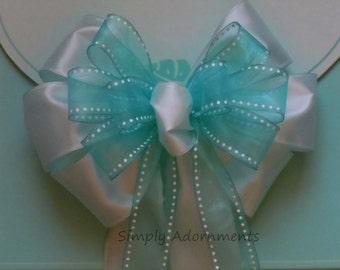 Mint Green Baby Shower Decor Mint Blue Wedding Aisle Decoration  Mint Blue Church Pew Bow Birthday Party Decor Bridal Shower Decor Gift Bow