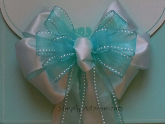Mint Green Baby Shower Decor Mint Blue Wedding Aisle Decoration  Mint Blue Church Pew Bow Birthday Party Decor Bridal Shower Decor Gift Bow
