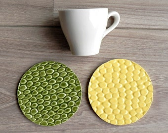 Ceramic Coasters Green and Yellow Animal Pattern Set of 2