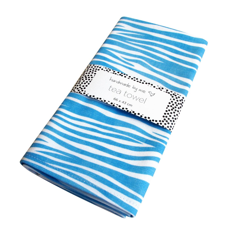 Zebra Tea Towels: Blue Zebra Pattern Tea/Dish Towel