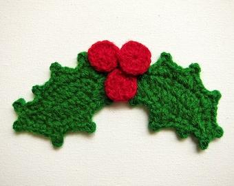 "1pc  5"" Crochet HOLLY LEAF Applique"