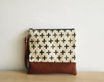 Cross Print Clutch Wristlet Zippered pouch Cosmetic bag, Clutch bag, Canvas Clutch