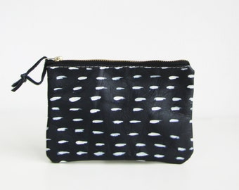 Small Black Leather pouch, Wallet, Small purse, Geometry Pouch, Vegan faux leather