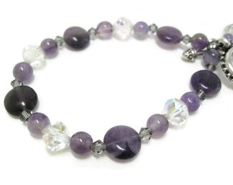 Amethyst Bracelet beaded semiprecious gemstone vintage crystal and Swarovski crystal