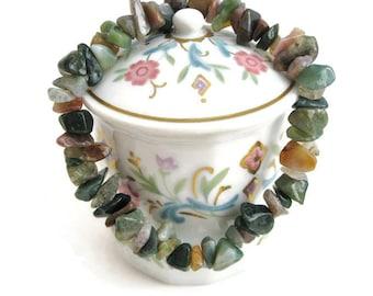Fancy Jasper Bracelet beadwork semiprecious gemstone chip stone stretch beaded bracelet