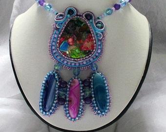 Sea Sediment Jasper Soutache Bead Embroidery Necklace