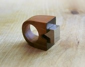 Sale Gemstone geometric wooden Ring with Pyrite, coctail statement ring, faceted gemstone wooden jewelry, minimalistic, brown and black