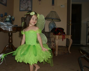 Tinkerbell Pixie Hollow Fairy Costume Flower Girl Tutu Dress with wand, halo, wreath ,crown and Wings