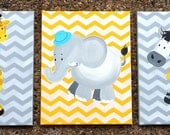 Jungle animals on canvas. Grey, Blue and Yellow Art for nursery walls, Giraffe, Zebra and Elephant
