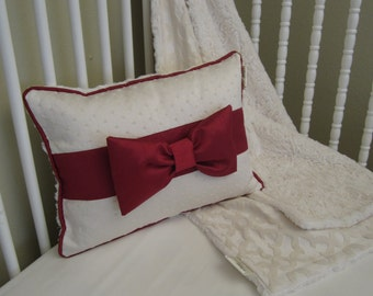 Crib Pillow: READY TO SHIP, baby bedding, Cream front, Crushed Minky Back, Cranberry Faux Dupioni bow and trim, Nursery Decor