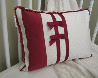 Crib Pillow: READY TO SHIP, holiday pillow, baby bedding, cream front, crushed minky back, cranberry faux dupioni bows, stripes and trim