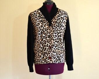 1960s Vintage A Winter Product Faux Fur Animal Print Jacket size S (M) bust 40