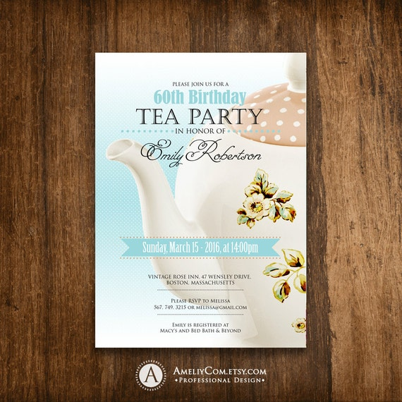 Items Similar To Adult Birthday Invitations Tea Party