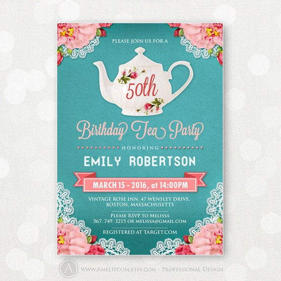 Adult Birthday Tea Party Invitations Birthday Invite DIY
