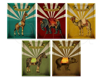 Vintage Circus Animals Set of Five Prints - Nursery Decor - Kids Room Decor - Vintage Nursery